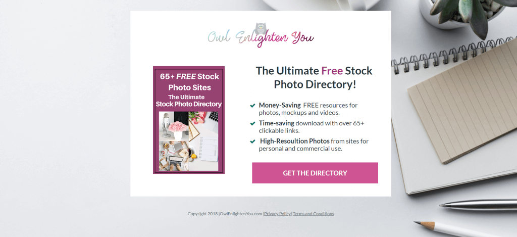 Picture of an optin showcasing The Ultimate Free 65+ Stock Photo Directory by OwlEnlightenYou.com