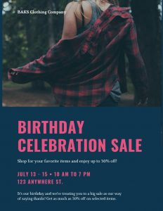 Example picture of a birthday sale picture for websites